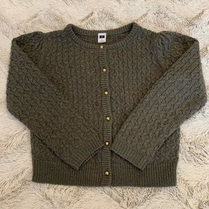 Janie and Jack Grey Knit Cardigan Golden Button 5